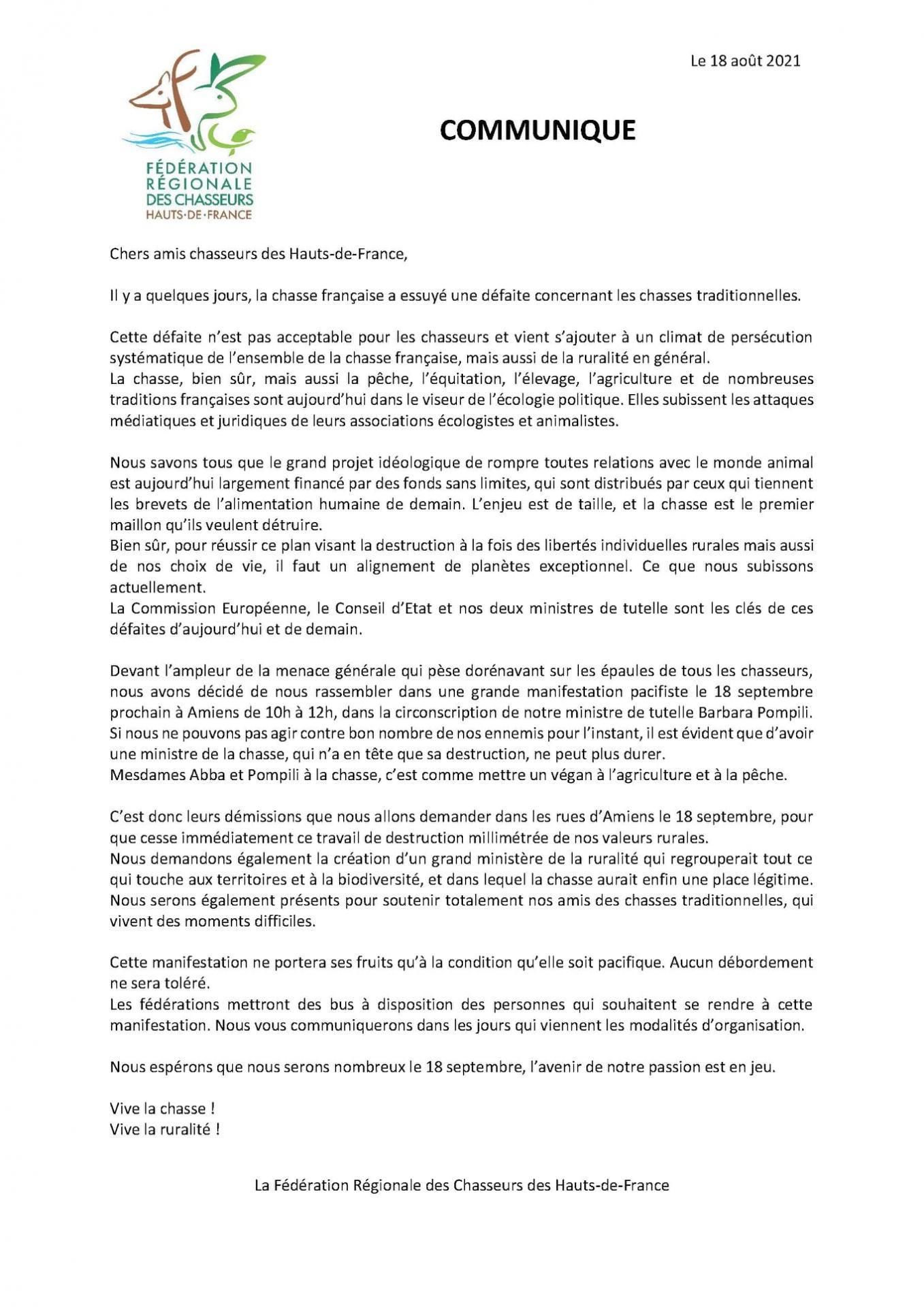 COMMUNIQUE DE LA FRC HAUTS DE FRANCE